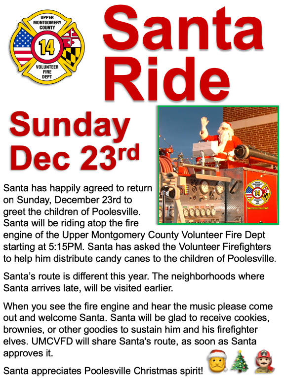 Traditional Santa Ride Through Poolesville Sunday, December 23rd