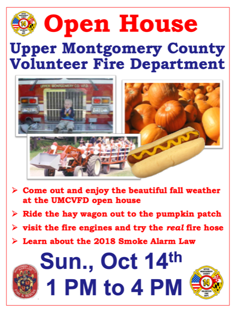 UMCVFD Open House – Sunday, Oct 14th from 1PM – 4PM